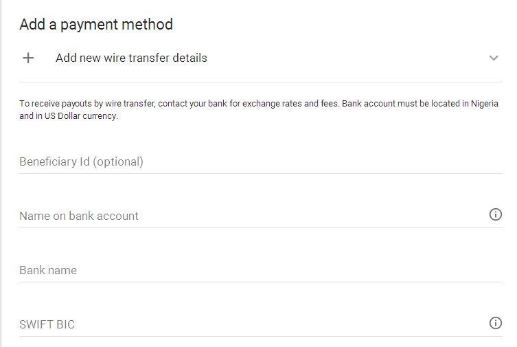 Google AdSense payment method