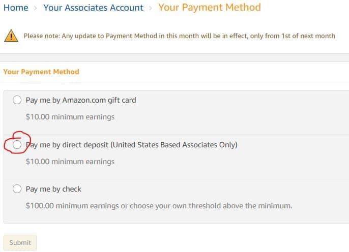 Amazon affiliate payment method for Non-US citizen