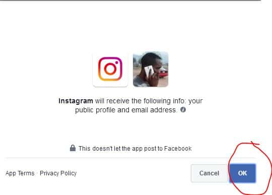 login Instagram account with Facebook