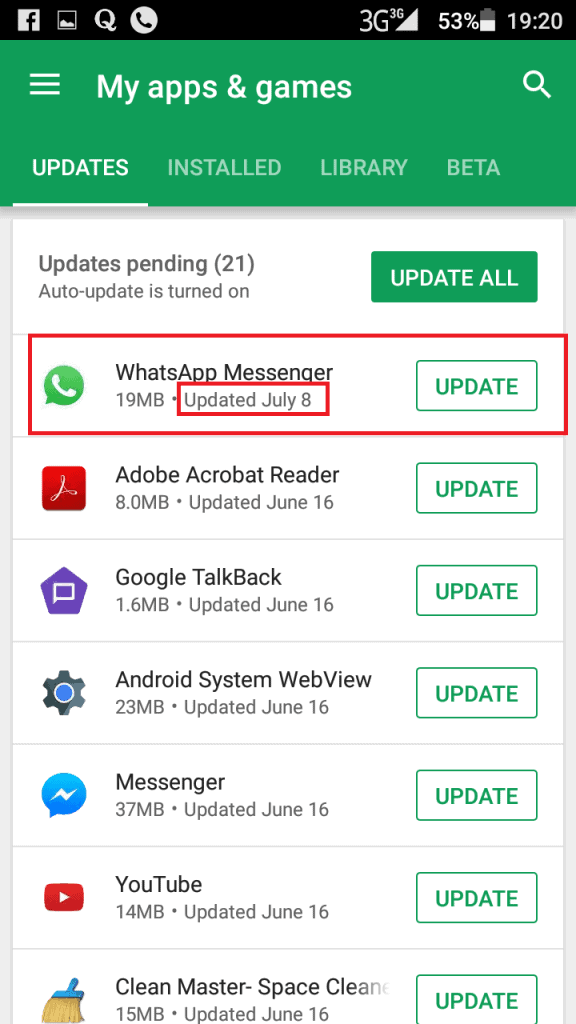 Install whatsapp update