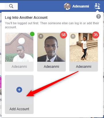 Facebook account switcher