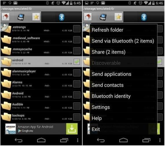 How to send apps via Bluetooth app