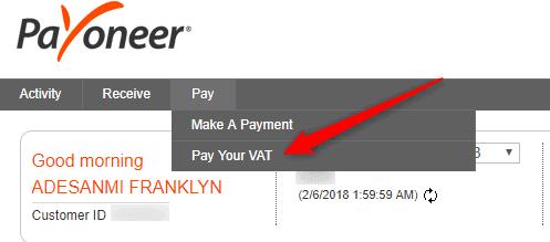 Pay my VAT using Payoneer