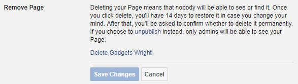 Delete a Facebook Fan Page