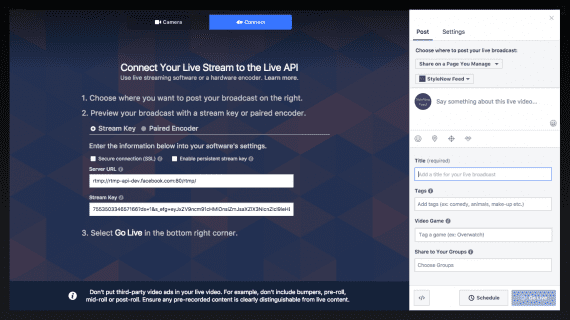 Facebook Live Stream Key