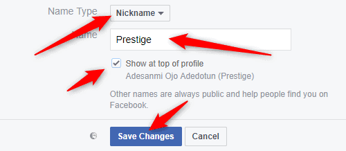 How to Add your Nickname to your Facebook Profile Name