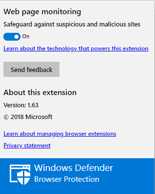 Microsoft Windows Defender Browsers Protection for Chrome